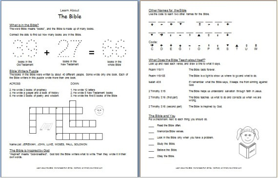 Learn About The Bible  Free Printable Worksheets For Kids