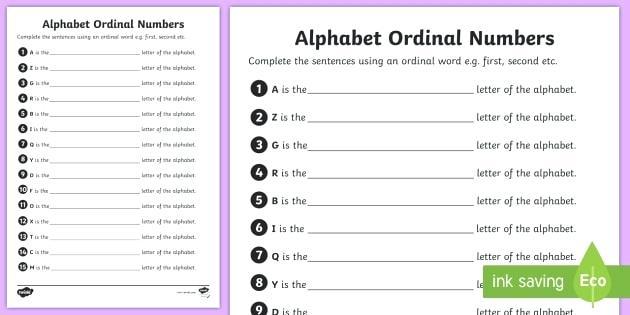 Cardinal Numbers Worksheets Ordinal Numbers Worksheet Pdf For