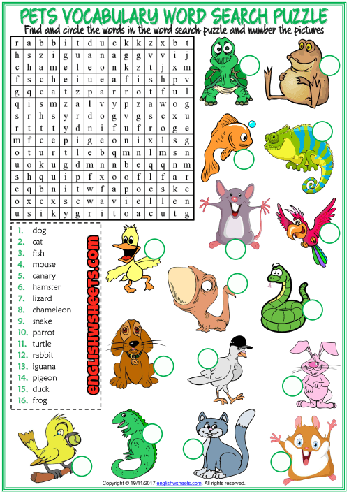 Pets Word Search Puzzle Esl Printable Worksheet For Kids