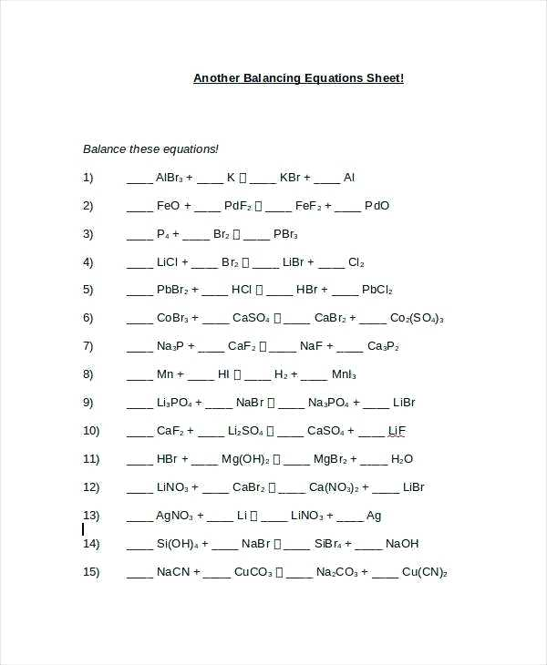Chemfiesta Worksheet Answers Balancing Equations Practice