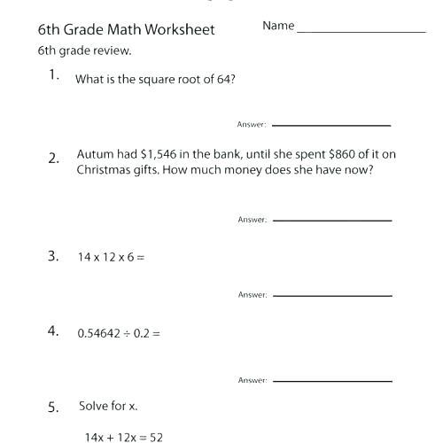 Christmas Worksheets For 6th Grade Math Worksheets Free Printable