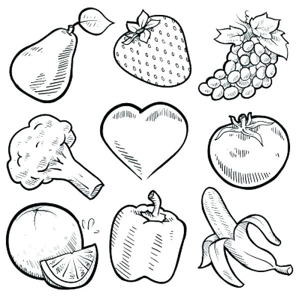Coloring Worksheets Fruit Pages Fruits And Vegetables Nine Healthy