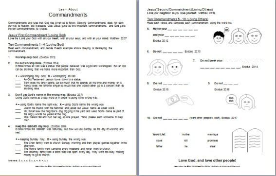 10 Commandments Worksheets