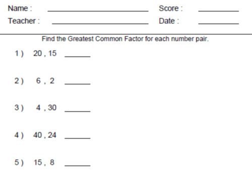 Math Worksheets For 6th Grade