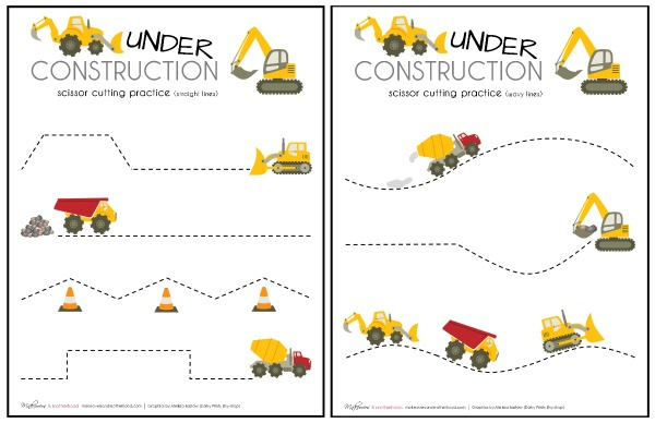 Construction Truck Scissor Cutting Practice Sheets (printable