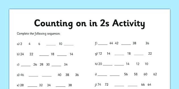 Counting In Worksheet Counting Worksheet 2 Numbers Math Counting