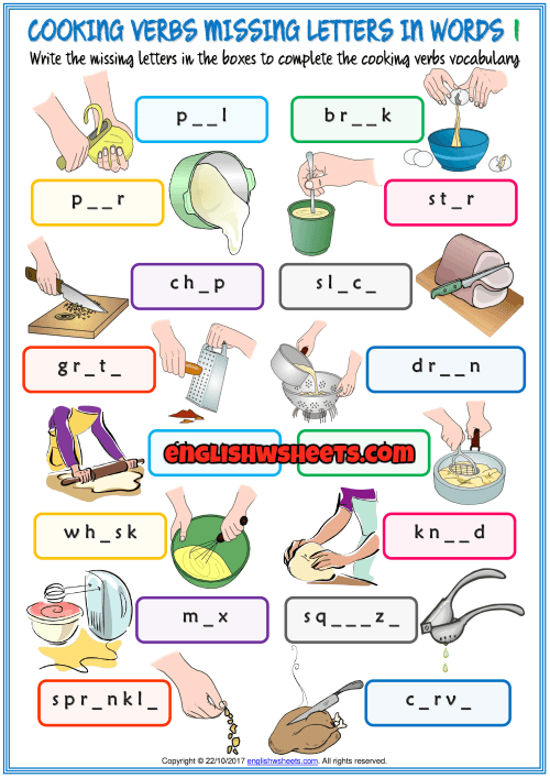Cooking Verbs Missing Letters In Words Exercise Handouts