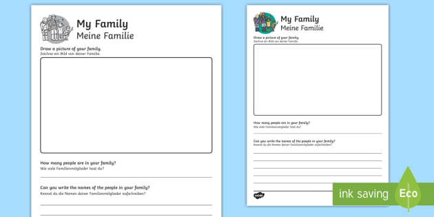 All About My Family Worksheet   Worksheet English German