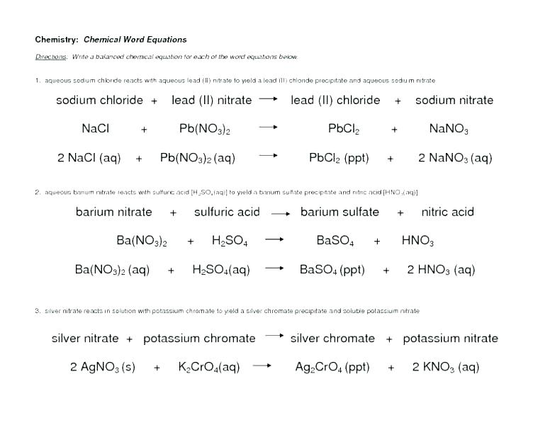 Balancing Chemical Equations Worksheet Answer Key – Recrea Co