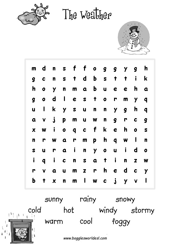 Weather Worksheets For Young Learners