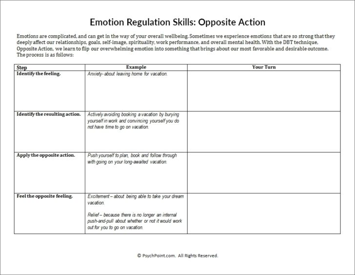 Emotion Regulation Worksheet