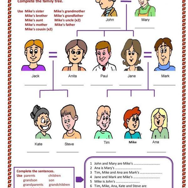 Esl Family Tree Worksheet