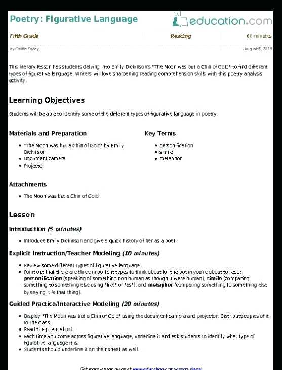 Figurative Language Worksheets For Middle School Simile Vs