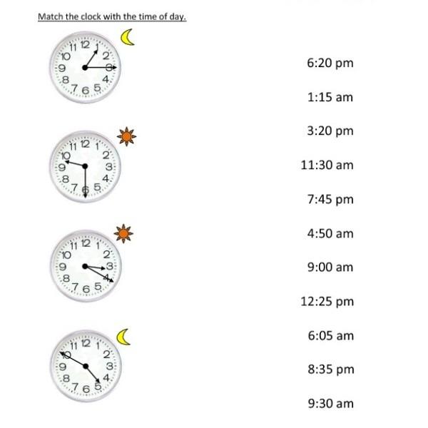 First Grade Reading Clocks Worksheet 15 – One Page Worksheets