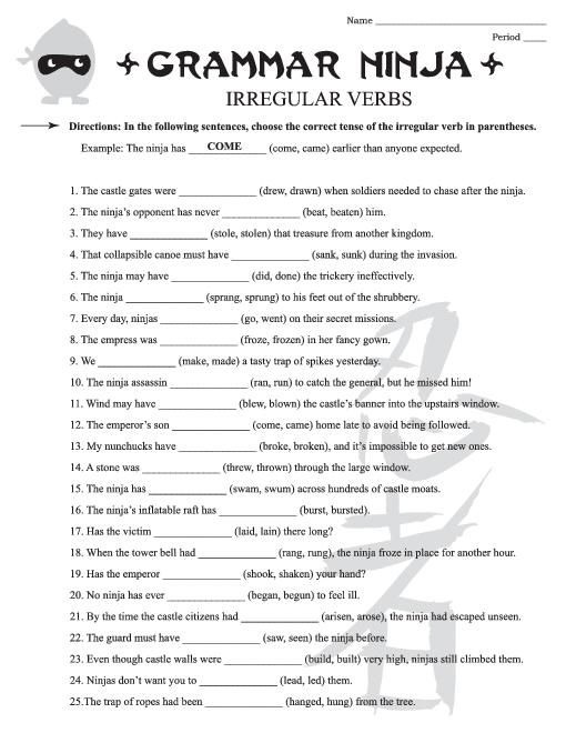 Grammar Worksheets For 4th Grade