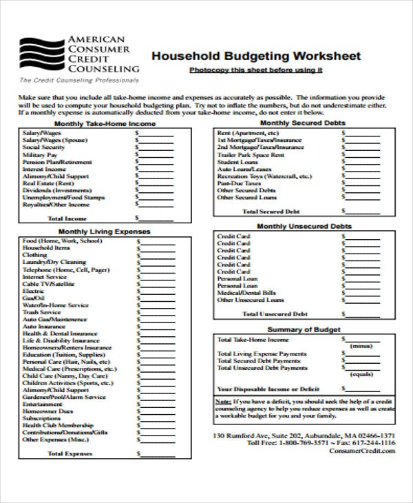 Home Budgeting Worksheets