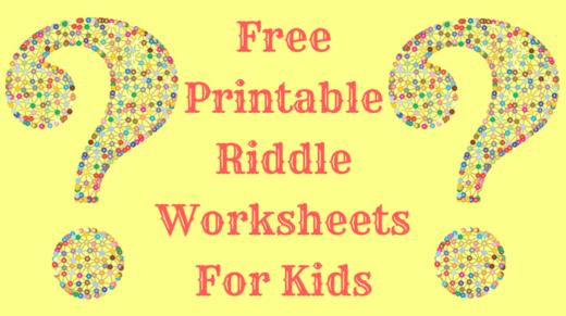Free Printable Riddle Worksheets