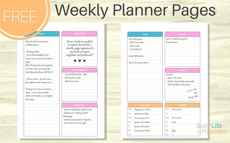 Free Printable Weekly Planner By Busy Life Planners Layouts To