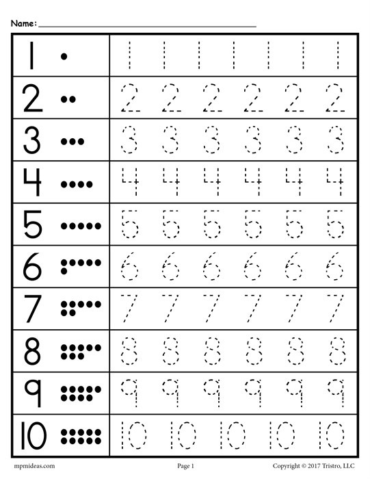 Number Tracing Worksheets 1
