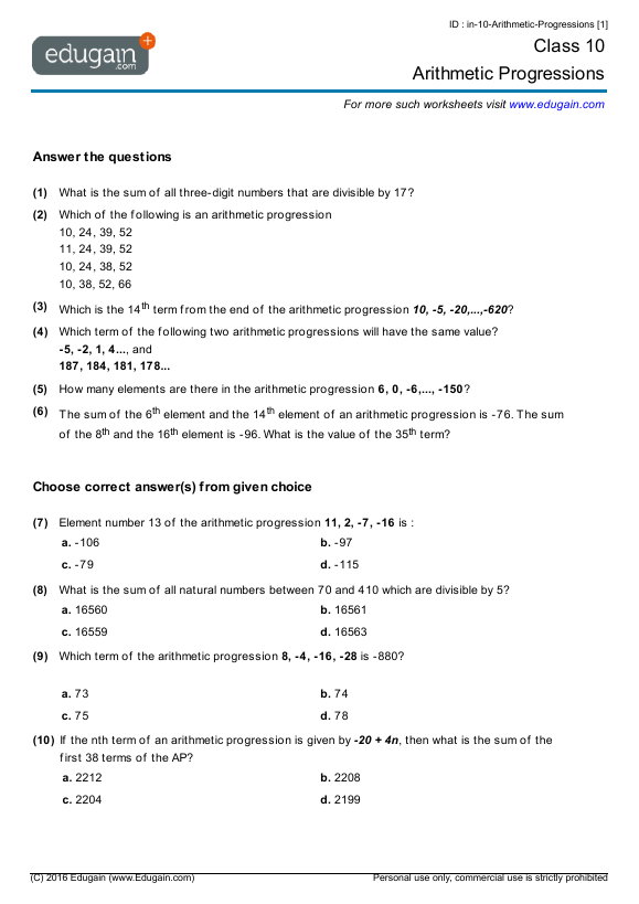 Class 10 Math Worksheets And Problems  Arithmetic Progressions