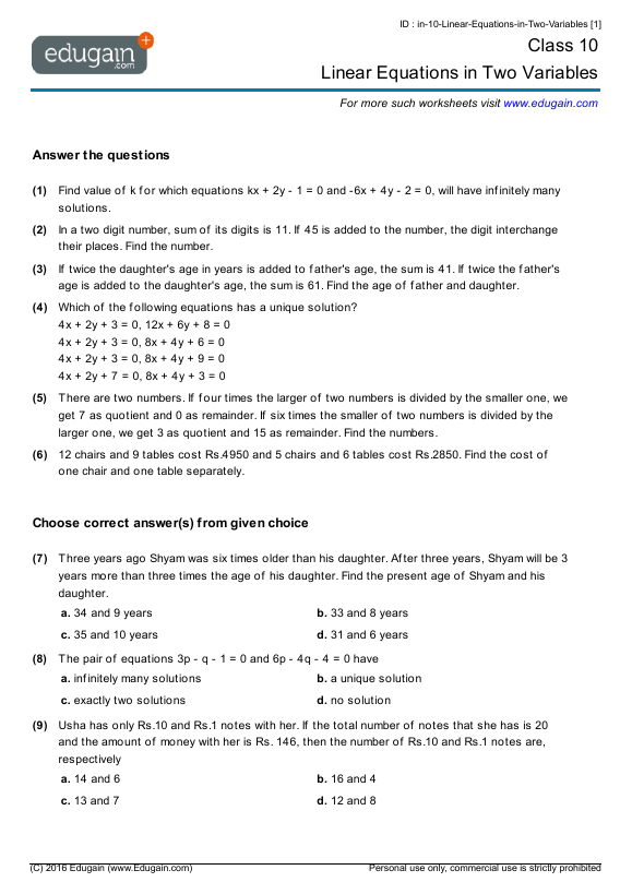 Grade 10 Math Worksheets And Problems  Linear Equations In Two