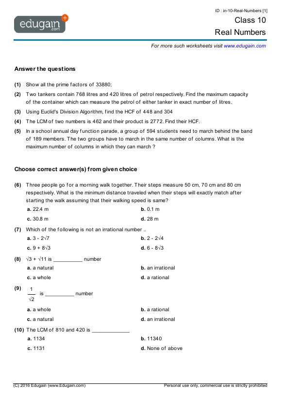 Grade 10 Math Worksheets And Problems  Real Numbers
