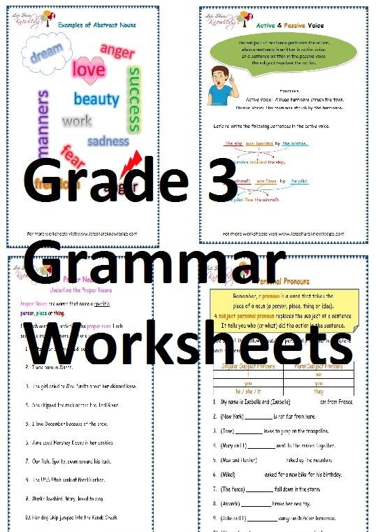 Grade 3 English Grammar Worksheets