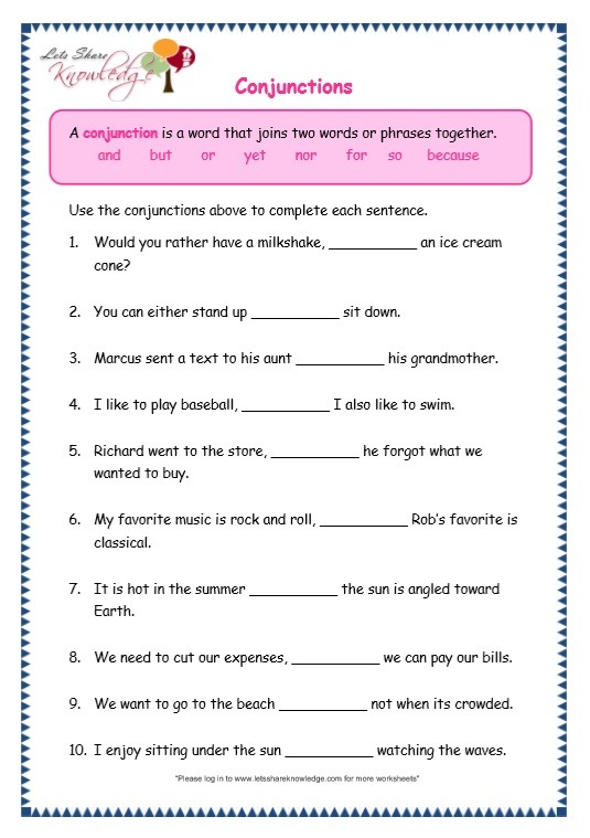 Grade 3 Grammar Topic 19  Conjunctions Worksheets