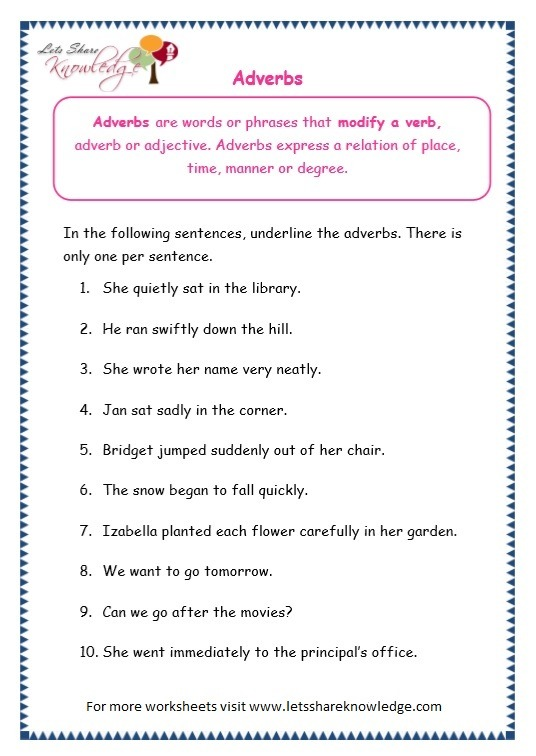 Grade 3 Grammar Topic 16  Adverbs Worksheets