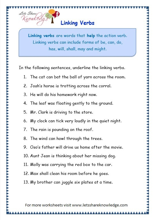 Grade 3 Grammar Topic 14  Helping Verbs Worksheets