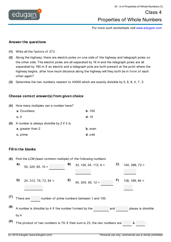 Year 4 Math Worksheets And Problems  Properties Of Whole Numbers
