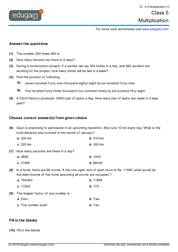 Grade 5 Math Worksheets And Problems  Multiplication