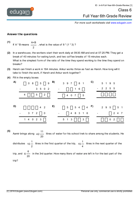 Grade 6 Math Worksheets And Problems  Full Year 6th Grade Review
