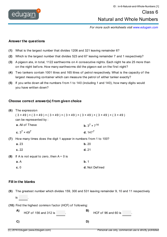Grade 6 Math Worksheets And Problems  Natural And Whole Numbers