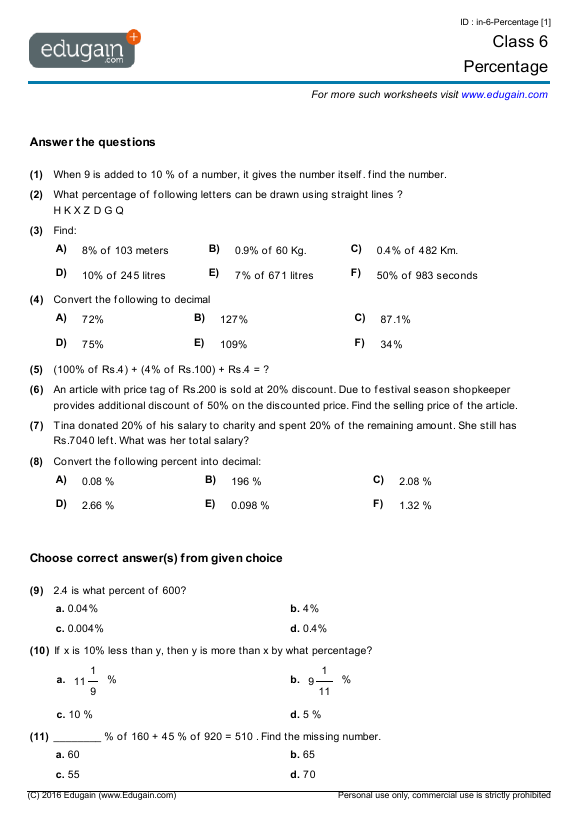 Grade 6 Math Worksheets And Problems  Percentage