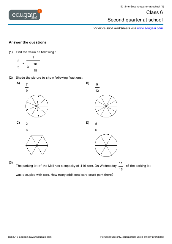 Grade 6 Math Worksheets And Problems  Second Quarter At School