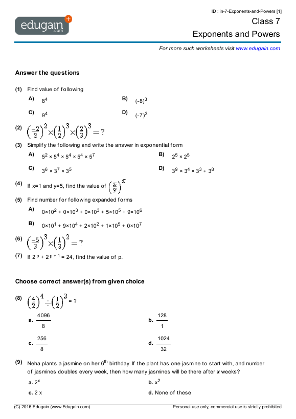 Grade 7 Math Worksheets And Problems  Exponents And Powers