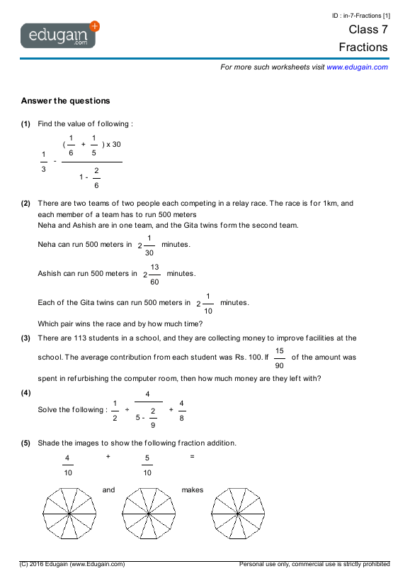 Grade 7 Math Worksheets And Problems  Fractions