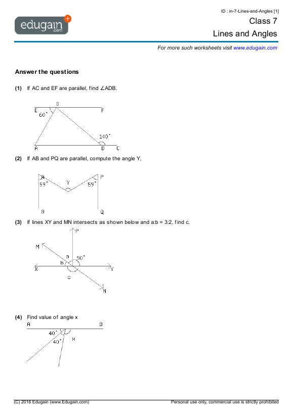 Grade 7 Math Worksheets And Problems  Lines And Angles