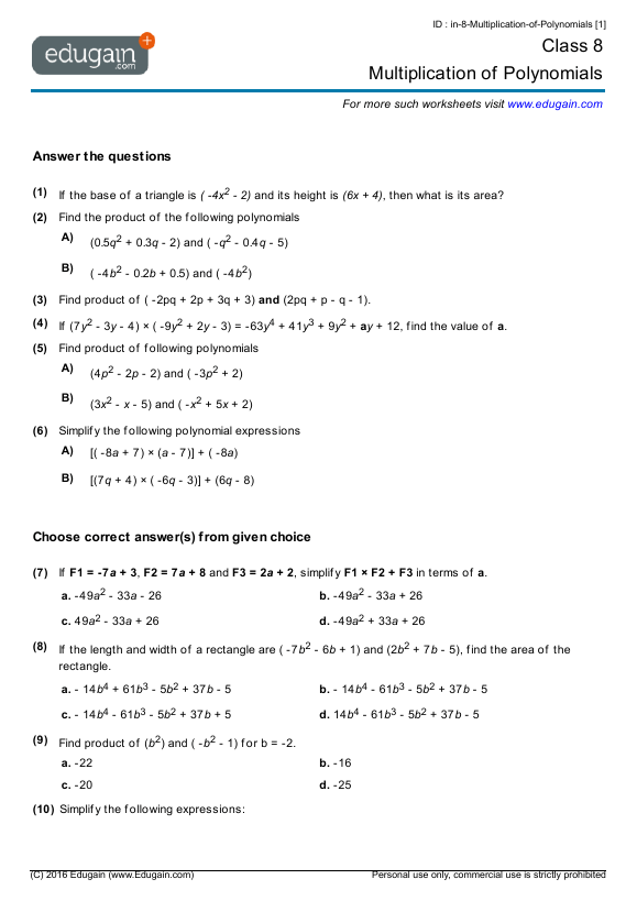 Grade 8 Math Worksheets And Problems  Multiplication Of