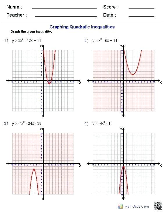 Graph Quadratics Math Graphing Solving Quadratic Inequalities