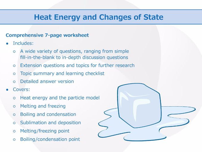 Heat Energy And Changes Of State [worksheet] By
