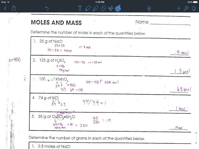 Moles Worksheet Answers