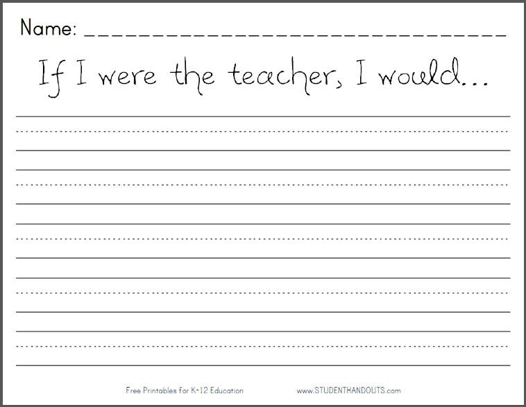 If I Were The Teacher, I Would Writing Prompt
