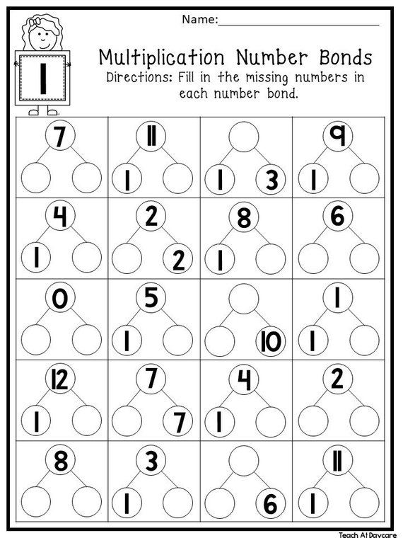 12 Printable Multiplication Number Bonds Worksheets  Numbers