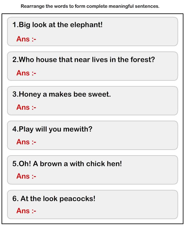 Jumbled Words To Form A Sentence Worksheet