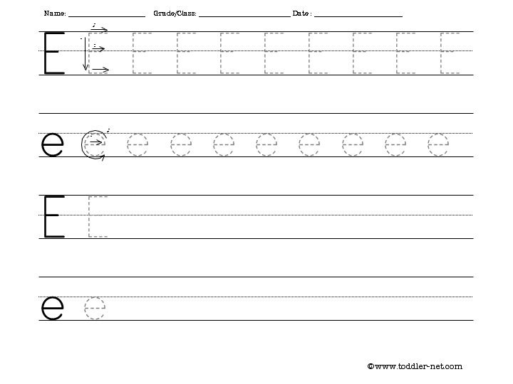 Tracing And Writing Letter E Worksheet