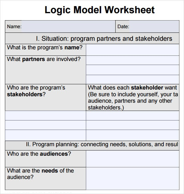 Printables  Logic Model Worksheet  Lemonlilyfestival Worksheets