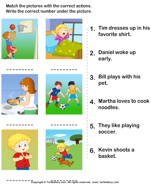 Match The Sentences To Pictures Worksheet