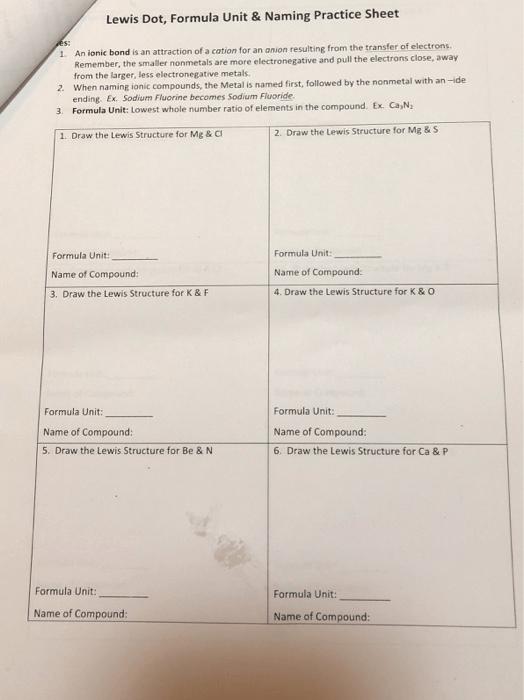 Solved  Lewis Dot, Formula Unit& Naming Practice Sheet An